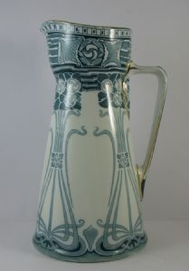 "SOLD - Large Antique Art Nouveau Royal Doulton Aubrey Jug Pitcher Teal Blue 13 1/4"" - c.1904"