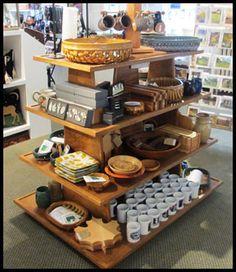 Rustic Wood retail gondola display fixture. Handmade customizable storage and sales display. http://jbrothersandcompany.com