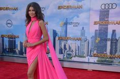 """Zendaya and Marisa Tomei stunned in high-slit dresses while attending the Los Angeles premiere of """"Spider-Man: Homecoming"""" with Tom Holland."""