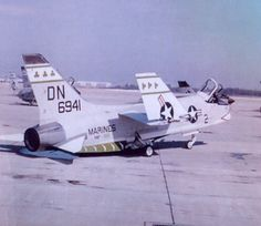"A USMC Vought F8U-2 Crusader from the VMF-333 with markings of the ""Three Shamrocks""."