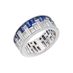 "Estate Betteridge Collection ""City Skyline"" Sapphire & Diamond Band Ring"