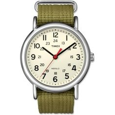 The Timex Weekender with a red second hand and an olive nylon strap. It's a cheap watch but looks quite stylish. And the Indigo function which lights up the entire dial is RAD. :-)