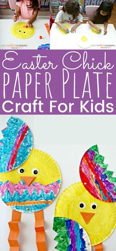 Easter Chick Paper Plate Craft For Kids - Easter Chick Paper Plate Craft For Kids Enjoy making this fun Easter craft with the kids at home - Easter Arts And Crafts, Easter Activities For Kids, Paper Plate Crafts For Kids, Craft Projects For Kids, Crafts For Kids To Make, Kids Crafts, Craft Ideas, Holiday Activities, Baby Crafts