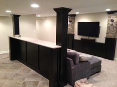 Basement built in cabinets and bars - traditional - basement - chicago - Hogan D. Basement built in cabinets and bars – traditional – basement – chicago – Hogan Design & Con Basement Layout, Basement House, Basement Bedrooms, Basement Walls, Basement Bathroom, Basement Pole Ideas, Basement Pole Covers, Basement Flooring, Flooring Ideas