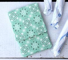 Tampon Holder, Pad/Pantiliner Case For Your Purse in October Afternoon for Riley Blake Sasparilla Mint and Cream Fabric. Made by AuntieEmsCrafts #sasparilla #octoberafternoon #mint