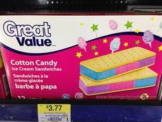 Great Value Cotton Candy Ice Cream Sandwiches Diy Unicorn Cake, Cute Food, Yummy Food, Disney Coffee Mugs, Unicorn Foods, Ice Cream Candy, Candy Dispenser, Snack Recipes, Snacks