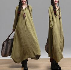 black green Loose Fitting Soft Cotton Long Shirt by clothnew88, $89.99
