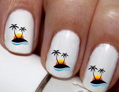 20 pc Summer Night Palm Tree Palmtrees Beach Sunset Nail Art Nail Decals #cg5562na