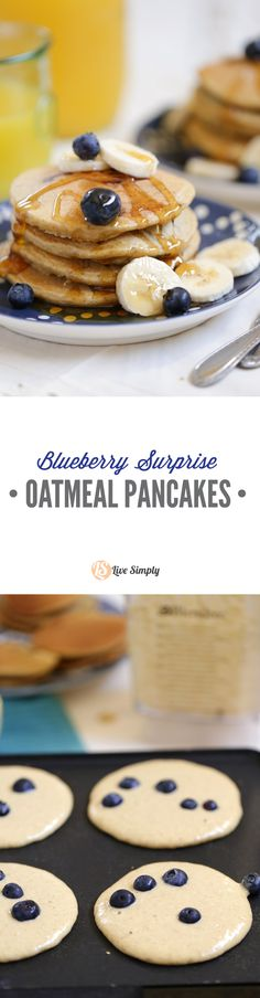 Gluten-Free Blender Blueberry Surprise Oatmeal Pancakes! These pancakes take 10 minutes to make and can be frozen for super busy mornings! Healthy and quick real food pancakes.