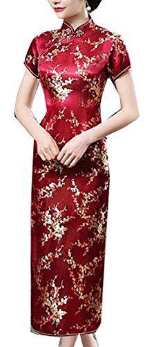2cbb9045e37 Jaycargogo Women s Vintage Chinese Traditional Cheongsam Floral Qipao Dress