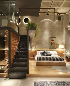 90 Cool Apartment Interior Design Model For Mens 41 - Decorative Inspiration Design Loft, Deco Design, Design Model, Warehouse Loft, Awesome Bedrooms, Apartment Interior, Studio Apartment, Apartment Goals, Interior Design Inspiration