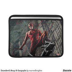 Daredevil Atop A Gargoyle MacBook Air Sleeve. While supplies last, grab these cool classic Daredevil merchandise. Perfect comic book hero gift ideas for birthdays. Comic Book Heroes, Comic Books, Macbook Air Sleeve, Superhero Design, Rainy Night, Daredevil, Marvel Comics, Children, Kids