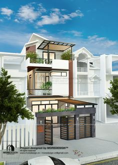 Visit the post for more. 3 Storey House Design, Tiny House Design, Modern House Design, Modern Townhouse, Small Modern Home, Street House, House Elevation, Facade House, Tropical Houses