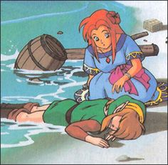 Marin and Link - The Legend of Zelda Link's Awakening art Twilight Princess, Princess Zelda, Wind Waker, Zelda Breath, Breath Of The Wild, Super Smash Bros, Legend Of Zelda, Marines, Art Reference