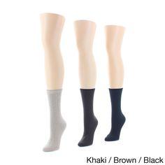 Memoi Women's Rib/Flatknit/Texture Crew Socks