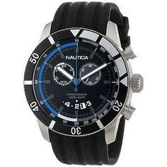 Nautica Men's A17583G Chronograph Watch Round Dial Blue / Black Silicone Band