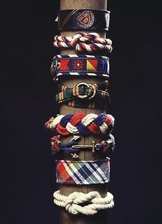 A selection of rope and nautical themed bracelets