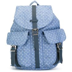 Herschel Supply Co. Polka Dot Buckle Backpack ($78) ❤ liked on Polyvore featuring bags, backpacks, blue, blue leather bag, blue leather backpack, blue backpack, polka dot bag and dot backpack