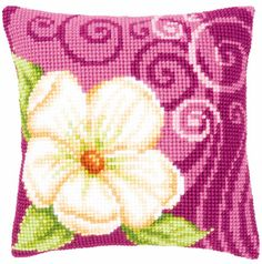 Cushion - White flowers and swirls III