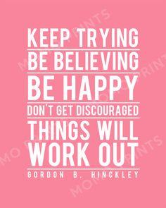 Gordon B Hinckley's BE HAPPY Print by MomoPrints on Etsy, $8.00