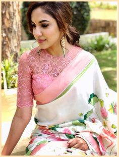 Lace blouse in pink with satin hire floral printed saree sabyasachi style Blouse Designs High Neck, Silk Saree Blouse Designs, Fancy Blouse Designs, Bridal Blouse Designs, Fashion Models, Women's Fashion, Stylish Blouse Design, Designer Blouse Patterns, Fashion Looks