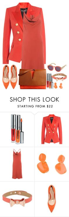 """""""First Day of Fall"""" by nefertiti1373 ❤ liked on Polyvore featuring By Terry, Balmain, C/MEO COLLECTIVE, Karen Walker, Kenneth Jay Lane, Ted Baker, Gianvito Rossi, Jil Sander, fallwear and SKDesigns"""