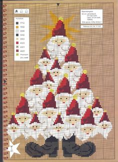 Santa Christmas tree....counted cross stitch
