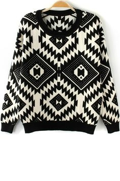 Geo Graphic Sweater - OASAP.com
