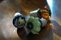 cork bottle stoppers with crafty kitchen knobs
