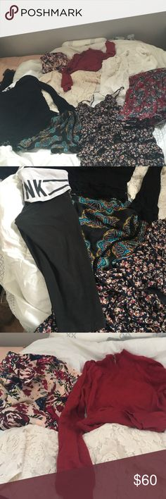 Huge lot brand name clothes super cheap MUST GO 9 pieces of clothing in this lot: Victoria's Secret pink cropped yogas(small), skirt from tillys(Xs), patterned shorts(small), black beautiful blouse from garage(xs), cream texture designed blouse from Delias(small), floral blouse from Charlotte Russe(large), max studio white shirt with embroidery around kneck(medium), forever 21 red sweater(small) ALL ITEMS ARE GOOD CONDITION NO DAMAGES, NEED TO SELL TODAY THATS WHY IT IS BUNDLED AND CHEAP…