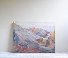 Vintage Ocean Landscape Painting by LittleDogVintage on Etsy, $125.00