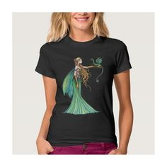 Discipline Green Fairy Dragon by Molly Harrison Tee Shirt ($34) ❤ liked on Polyvore featuring tops, t-shirts, green tee, green top and green t shirt
