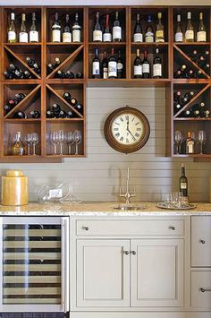 Beautiful wine and beer storage - Built in wet bar with open storage for glassware, wine, and beer. #vinoplease #winebar #homedecor