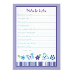 Butterfly Garden Wishes for Baby Cards