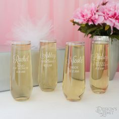 Stemless Champagne Monogrammed Toasting Glasses by DesignstheLimit