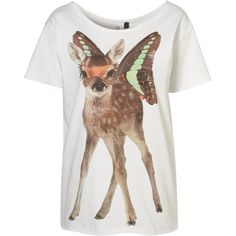 Deer Print Tee by Emma Cook** ($60) ❤ liked on Polyvore featuring tops, t-shirts, shirts, tees, shirt top, pattern t shirt, cutoff shirt, cotton t shirts and cut off tee