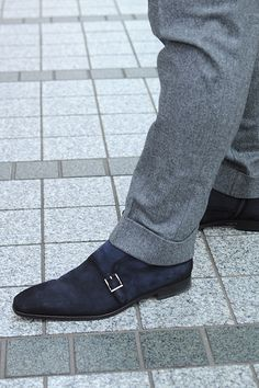 Navy suede monk strap boots.Made by MAGNANNI.