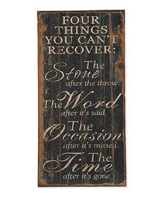 Another great find on #zulily! Distressed Black Wood 'Four Things' Wall Sign #zulilyfinds