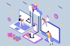 Cloud Computing Isometric Illustration by on Envato Elements What Is Cloud Computing, Cloud Computing Technology, Cloud Computing Services, Technology News, Web Design, Blog Design, Illustration Software, Cloud Infrastructure, Isometric Design