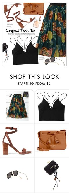 """""""Cropped Tank Top"""" by oshint ❤ liked on Polyvore featuring Vince, Kate Spade, Guide London, awesome, skirt, tanktop, soring and zaful"""