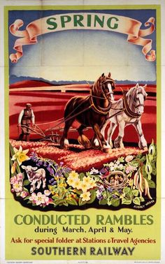 Poster, Southern Railways, 'Conducted Rambles, Spring' by Audrey Weber, 1936