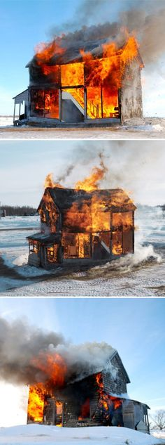 Heather Benning's life-sized dollhouse burning, March 2013 : (