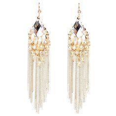 Glam bead tassel earrings White
