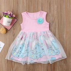 2018 Brand New Toddler Infant Child Kids Baby Girls Floral Unicorn Pageant Party Tulle Tutu Chiffon Dress Cartoon Sundress 6M-4T