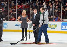 Chicago native Jim Belushi shoots the puck on March 25.