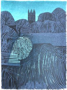 """Church"" by Robert Tavener 1920-2004 Signed limited edition linocut print."