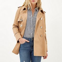 Brown cropped trench coat