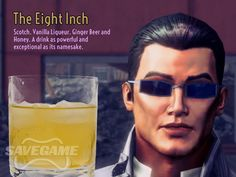 The Eight Inch – Johnny Gat. Rim the glass with honey and then add: 2 oz Scotch, oz Vanilla Liqueur, oz Triple Sec, Fill with ginger beer Party Drinks, Fun Drinks, Alcoholic Drinks, Cocktails, Saints Row 4, Vanilla Liqueur, Danielle Victoria, Saint A, Rwby Memes
