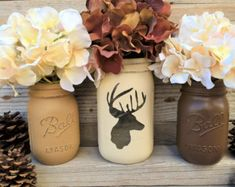 Country Home Decor Mason Jars With Burlap by CountryHomeandHeart