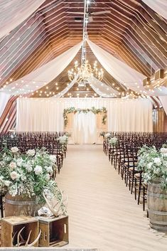 wedding ideas---drapered wedding reception decorations with greenery barrels, country barn weddings, wedding ceremony ideas Wedding Ceremony Ideas, Barn Wedding Decorations, Rustic Wedding Venues, Wedding Events, Wedding Favors, Wedding Country, Wedding Reception, Decor Wedding, Indoor Wedding Venues